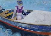 """<h5>Waiting for a sleepy feeling</h5><p>Oil on canvas, 19"""" x 27"""" (48.3 x 68.6cm)</p>"""