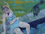 "<h5>She takes her time</h5><p>Oil on canvas, 22"" x 29"" (55.8 x 73.6cm)</p>"