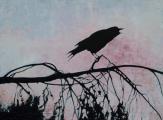 "<h5>Crow Crow Crow</h5><p>Oil on linen, 51"" x 38"" (129.5 x 96.5cm)</p>"