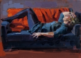 "<h5>La sieste</h5><p>Oil on Canvas, 9½"" x 13"" (24 x 33cm)																	</p>"