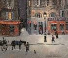 "<h5>Rue de Bretagne, Soir de Neige</h5><p>Acrylic on board, 10"" x 11½"" (25.5 x 28.5cm)</p>"