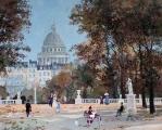 "<h5>Dans le Jardin du Luxembourg</h5><p>Acrylic on board, 13"" x 16"" (33 x 40.7cm)</p>"