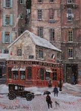 """<h5>Le Petit Cafe del la Rue Perronet</h5><p>Acrylic on board, 13"""" x 9.5"""" (33 x 24.5cm) </p>"""