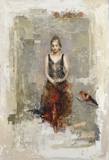 "<h5>The Red Skirt</h5><p>Digigraph: Monoprint with oil and wax on board, 51"" x 35½"" (129.5 x 89cm)																																																																																																																																																																																																																																																																																																																																																																																																				</p>"