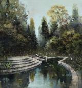 """<h5>Dans le Jardin du Monde</h5><p>Pure pigment, marble powder, and acrylic on canvas, 51"""" x 47¼"""" (130 x 120cm)</p>"""