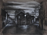 "<h5>Au point de la nuit</h5><p>Charcoal on paper, 26½"" x 35"" (67.3 x 88.9cm)																																																																																																																																																																																																																																																																																																																																																																																																																								</p>"