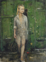 "<h5>The Girl Behind the Last Door</h5><p>Oil and wax on canvas, 38"" x 51"" (97 x 130cm)																																																																																																																																																																																																																																																																																																																																																			</p>"