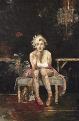 "<h5>Marilyn in the Studio</h5><p>Oil and wax on canvas, 76¾"" x 51"" (195 x 130cm)																																																																																																																																																																																												</p>"