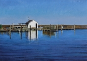 "<h5>Dock and Shack</h5><p>Oil on linen, 32"" x 45½"" (81 x 116cm)																																																																																																																																																																																																																																																																																																																																																																																						</p>"
