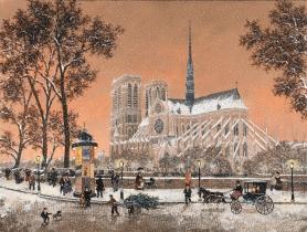 """<h5>Premiere Neige sur Notre Dame</h5><p>Acrylic on canvas, 23¾"""" x 31½"""" (60 x 80cm)</p>"""