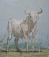 "<h5>Toro Blanco no. 2</h5><p>Oil on canvas, 70"" x 60"" (177.8 x 152.4cm)																	</p>"