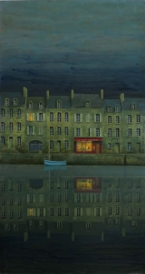 "<h5>Le Port d'Attache</h5><p>Oil on board, 28¾"" x 47¼"" (73 x 120cm)																																																																																																																																																																																											</p>"
