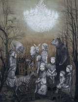 "<h5>The Gathering</h5><p>Charcoal and pastel on paper, 50 x 38"" (127 x 97cm)</p>"