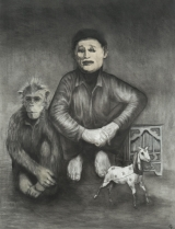"<h5>The Organ Grinder</h5><p>Charcoal on paper, 50 x 38"" (127 x 97cm)</p>"