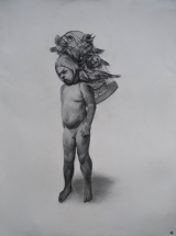 "<h5>Boy with Birds</h5><p>Charcoal on paper, 30 x 22"" (76 x 57cm)</p>"
