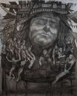 "<h5>Ship of Fools</h5><p>Charcoal on paper, 58 x 74"" (147 x 193cm)</p>"
