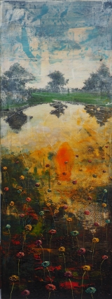 "<h5>Lake gone bad</h5><p>Acrylic and oil on canvas, 63"" x 23½"" (160 x 60cm)																																																																																																																																								</p>"