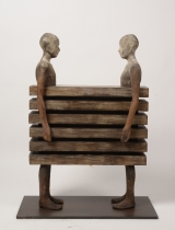 "<h5>Enfrentados</h5><p>Bronze, wood, and iron, 35½"" x 27½"" x 11¾"" (90 x 70 x 30cm)																																																																																																																																																									</p>"