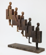 "<h5>Downstair</h5><p>Bronze and iron, 34½"" x 31½"" x 8¾"" (88 x 80 x 22cm)																																																																																																																																																									</p>"