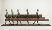 "<h5>Caminados</h5><p>Bronze, wood, and iron, 28¼"" x 11¾"" x 78¾"" (72 x 30 x 200cm)</p>"