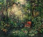 """<h5>Sous l'astre des saisons </h5><p>Pure pigment, marble powder, and acrylic on canvas, 47¼"""" x 55"""" (120 x 139.7cm)</p>"""