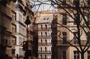 """<h5>Paris Le Marais </h5><p>Mixed media on canvas, 23¾"""" x 36¼"""" (60 x 92cm)</p>"""