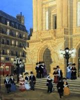 "<h5>Sortie de l'Opéra</h5><p>Acrylic on board, 10½"" x 8¾""  (26.7 x 22.2cm)</p>"