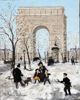 """<h5>Sur le haut des Champs Elysées</h5><p>Acrylic on Board, 9½"""" x 7½"""" (24.1 x 19cm)</p>"""