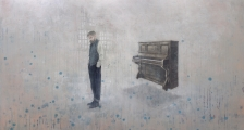 "<h5>The pianist</h5><p>Acrylic on canvas, 40"" x 70"" (101.5 x 178cm)																																		</p>"