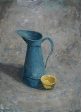 "<h5>Broc bleu et bol jaune</h5><p>Oil on canvas, 39½"" x 28¾"" (100 x 73cm)																																		</p>"