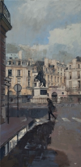 "<h5>2 Place des Victoires (silver)</h5><p>Oil on canvas, 39"" x 19"" (99.1 x 48.3cm)</p>"