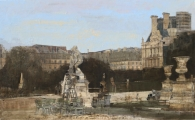 "<h5>Jardin des Tuileries</h5><p>Oil on canvas, 35"" x 57"" (89 x 146cm)</p>"