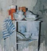 "<h5>Still life no. 8</h5><p>Oil on Canvas, 48"" x 44"" (122 x 112 cm)</p>"