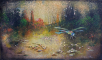 """<h5>Chaque nuit d'été est un poème</h5><p>Acrylic, marble powder, and pure pigment on canvas, 10½ x 18"""" (27 x 46cm)</p>"""