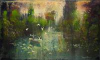 """<h5>L'enfant du marais</h5><p>Acrylic, marble powder, and pure pigment on canvas, 10½ x 18"""" (27 x 46cm)</p>"""
