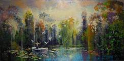"""<h5>La 5 ième saison</h5><p>Acrylic, marble powder, and pure pigment on canvas, 38¼ x 76¾"""" (97 x 195cm)</p>"""