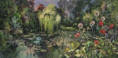 """<h5>Les jardins d'eaux et de feu II</h5><p>Acrylic, marble powder, and pure pigment on canvas, 38¼ x 76¾"""" (97 x 195cm)</p>"""