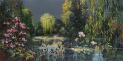 """<h5>Les jardins d'eaux et de feux I</h5><p>Acrylic, marble powder, and pure pigment on canvas, 38¼ x 76¾"""" (97 x 195cm)</p>"""