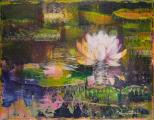 """<h5>Le sommeil des eaux II</h5><p>Acrylic, marble powder, and pure pigment on canvas, 10½ x 13¾"""" (27 x 35cm)</p>"""