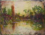 """<h5>Les vestiges du jour</h5><p>Acrylic, marble powder, and pure pigment on canvas, 10½ x 13¾"""" (27 x 35cm)</p>"""
