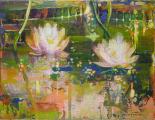 """<h5>Le sommeil des eaux I</h5><p>Acrylic, marble powder, and pure pigment on canvas, 10½ x 13¾"""" (27 x 35cm)</p>"""