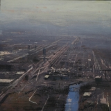 "<h5>Perspectiva de Chicago</h5><p>Oil on wood panel, 15¾ x 15¾"" (40 x 40cm)</p>"