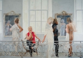 "<h5>Fashion Show</h5><p>Oil on canvas, 56"" x 80"" (142 x 203cm)</p>"