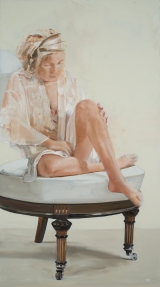"""<h5>Sitting on a White Chair</h5><p>Oil on canvas, 36"""" x 20"""" (91 x 51cm)</p>"""