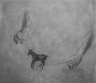 """<h5>The Conjuror's Horse </h5><p>Charcoal on Paper, 43"""" x 39"""" (109.2 x 99cm)</p>"""