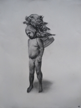 """<h5>Boy with Birds</h5><p>Charcoal on Paper, 30"""" x 22"""" (76.2 x 55.9cm)</p>"""