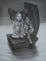 """<h5>The Bright River</h5><p>Charcoal on Paper, 50"""" x 38"""" (127 x 96.5cm)</p>"""