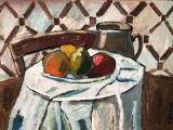 "<h5>Still Life with a Table</h5><p>Oil on board, 27½"" x 19¾"" (70 x 50cm)</p>"
