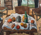 """<h5>Still Life with a Table, Chair, and a Window</h5><p>Oil on canvas, 43½"""" x 35½"""" (110 x 90cm)</p>"""