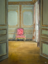 """<h5>Red chair</h5><p>Oil on linen, 16"""" x 12"""" (41 x 30cm)</p>"""